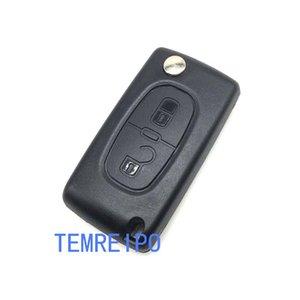 2 أزرار قابلة للطي مفتاح السيارة مفتاح قذيفة حالة فارغة مفتاح لبيجو ستروين غطاء مفتاح لسيتروين بيجو