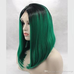 الرباط الجبهة الباروكة الاصطناعية مستقيم بوب حلاقة أومبير الشعر الأخضر المرأة الرباط الجبهة الباروكة تأثيري قصيرة الشعر الاصطناعية