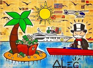 Handpainted Alec 독점 Banksy 추상 낙서 팝 아트 유화 캔버스에 섬 고품질 벽 예술 장식 사무실 문화 g276