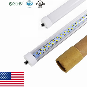 Stock In US + Single Pin FA8 8ft Led Tube lights Double Sides 45W 72W T8 LED Fluorescent Tubes Light AC 85-265V