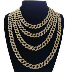 Rhinestone cristalino de la joyería Bling hacia fuera helada Goldgen Finalizar Enlace Miami cubano cadena de la joyería de los hombres de Hip hop collar 18, 20, 24, 30 pulgadas