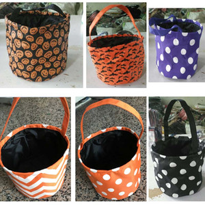 Halloween Bucket Bag Pumpkin Polka Dot Bat Chevron Poliester en blanco Mango Tote Bags Halloween Candy Baskets 7 Designs WX9-921