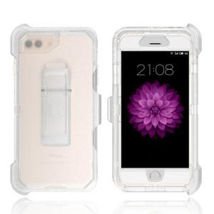 3 en 1 robot Caso claro transparente de cuerpo completo dura cubierta de la caja con el clip para iPhone 11 Ma Pro X XS Xr 8 7 6S Plus Samsung S10e S10 S20 Plus