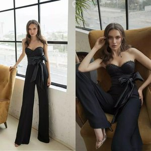 Julie Vino tute nere di Prom Dresses Appliqued merletto Sweetheart sera convenzionale abiti del partito con il telaio Occasioni speciali pantaloni su ordine