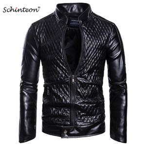 Schinteon 남자는 부드러운 PU 가죽 바이 오토바이 재킷 서 칼라 착실히 가짜 가죽 캐주얼한 코트를 빨강 검정