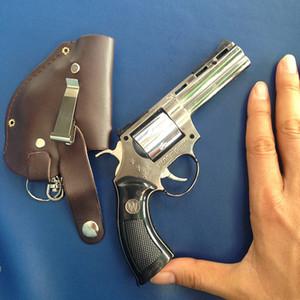 Pistola Gun 0.6: 1 Revolver pitone 357 a forma di fumo accendino antivento butano ricaricabile Gas Jet torcia Flame Lighter Free Shipping + fondina