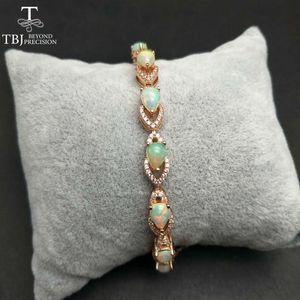 TBJ, NAUTRAL 3.2CT Top Quality Ethiopian Opal Pulseira de pedras preciosas em 925 jóias de gemstone de prata esterlina para meninas com caixa de presente
