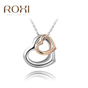 Лучшего качество ROXI Нового подарок любовник Двойного сердце Подвесок для пара Серебряного знака мира ожерелья ключицы ожерелье Женщина ювелирных изделий