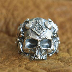 LINSION 925 Sterling Silver Masonic Skull Ring Mens Biker Punk Ring TA116 Tamaño EE. UU. 7 a 15