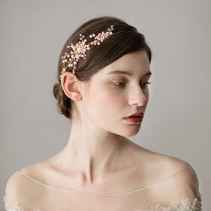 Romantico Perla oro Nuziale Hairband Accessori per capelli da sposa Cristalli Perle da sposa Perle di Boemia Copricapo Coronas de la boda CPA1429