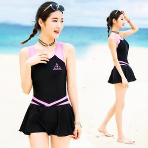 VERZY Pretty One Piece Swimsuit Skirt Women Beach traje de baño vestido Beach Cute Sexy A-Line Print señoras jóvenes traje de baño SQ18047