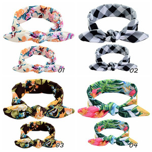 FAST SHIP Baby-Mummy Floral Print Bunny Ear Hair Bands Parent-Child Outfit Dot Tartan DIY Bowknot Headbands Rabbit Ear Headwear BE01