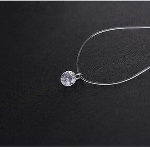 Nouveau 2017 Mode Superbe Invisible En Cristal Pendentif Ligne De Pêche Noire Original Collier Pour Les Femmes Zircon Bijoux NA2074