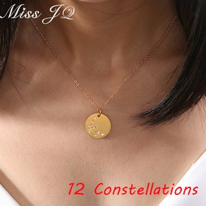 Miss JQ 12 Star Zodiac Signs Constellation Long Chains Necklace Horoscope Astrology Round Pendant Necklace Women Birthday Gift