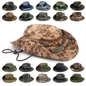 Deportes al aire libre Hombres Sombrero de pesca de mujeres Camuflaje Sombrero de cubo Pescador Camo Ripstop Jungle Bush Sombreros Boonie Wide Brim Sun Caps