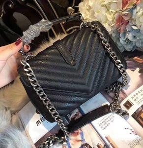 Newset forma de bolsa Flaps Cadena Señora bolsos con bolsas de la cadena dominante de cuero real bolsas de asas del bolso de embrague del hombro Mujeres Purs mensajero