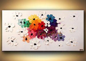 fait main peinture à l'huile coloré floral abstrait peinture fond blanc couteau à palette toile main discount art mural citations contemporar
