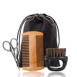For Men Care Set Wooden Comb Natural Boar Bristle Beard Brush Scissors Suit Not Easy To Deform Grooming Kit Gift 15mb BB