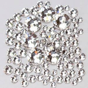 1000pc / Paquete Tamaño de la mezcla (ss3 ss4 ss5 ss6 ss8 ss10 ss12 ss16) No Hotfix Cristal Cristal Claro Para Nail Art Rhinestones de Flatback