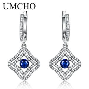UMCHO Синий сапфир длинные серьги клип для женщин настоящее серебро 925 ювелирные изделия дизайнер роскошные драгоценный камень женщин аксессуары 2018 NewY1882701