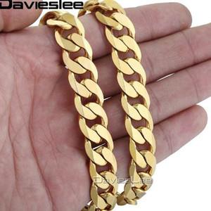 Davieslee الهيب هوب رجالي قلادة كبح سلسلة الكوبي الذهب معبأ مجوهرات حزب ارتداء اليومي 12MM DLGN270