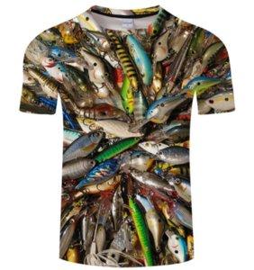 2018 Verano Nueva Moda Fishinger Imprimir camiseta 3D Hombre de manga corta ocasional Homme Camiseta divertida Camisetas Tops Tops AA535