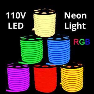 RGB AC 110V Neon Rope LED Streifen 50 Meter im Freien wasserdicht 5050 SMD Licht 60 LEDs / M mit Netzteil Schneidbar bei 1 Meter