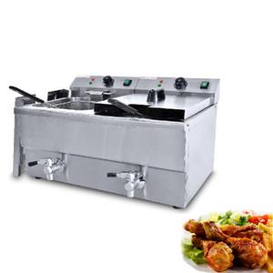 Qihang_top 11L-2 tanque de doble freidora eléctrica papas fritas comercial máquina de freír el pollo de acero inoxidable máquina freidora