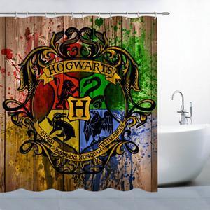 Harry Potter Hogwarts Sihirli Rozet Logosu Ahşap Kurulu Kişilik Banyo için Su Geçirmez Polyester Duş Perdesi 69x70 Inç Perde Set