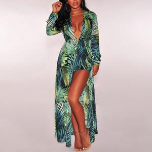 Mulheres verão à beira-mar maxi dress 2018 verão sexy deep v palm tree impressão beach dress floral manga longa plissado sundress plus size