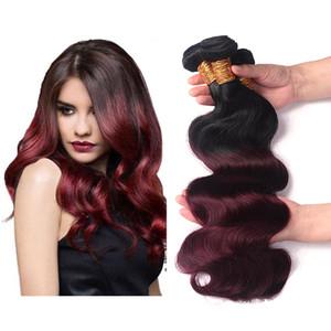 Brésilien Ombre 1B / 99J Corps Vague Cheveux Bundles 100% Brésilien Armure de Cheveux Humains Ombre Vin Foncé Rouge 3 Bundles Couleur Extension de Cheveux