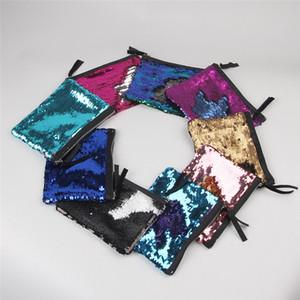 Glitter Kosmetiktasche Mermaid Pailletten Make-up Veranstalter Reisetaschen Clutch Geldbörsen Mode Regenbogen Münze Brieftasche Aufbewahrungskoffer 11 Farben 19 * 15cm