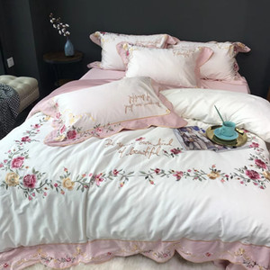 60 long-staple cotton bed embroidered craft bedding four-piece full circle three-dimensional curved embroidered double-layer patch process