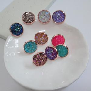 Druzy Earrings, Искусственная Drusy Copper Base Круглый Стад Серьги Подарки для Ее 10prs / lot