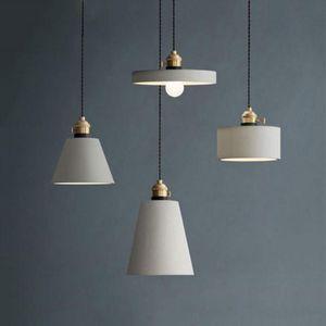 Art lampada di design cemento americano Grey Cafe lampada a sospensione grigia industriale del cemento paralume apparecchio LED E27 illuminazione a sospensione