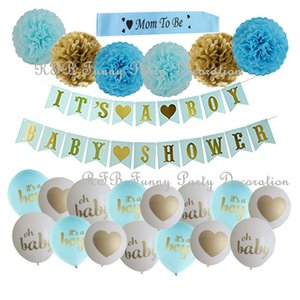 Decoraciones para baby shower Rosa azul Fiesta dorada Globos Banner Mamá ser papel PomPoms Borla Guirnalda para Boy Girl Party