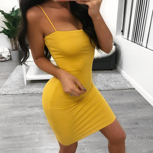 Hot Strap Bodycon Tubino Dress Summer Summer Sleeveless Slash Solid Mini Abiti Sexy Night Out Club Wears