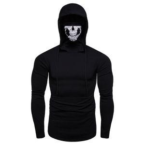 Mens Mask Skull Pure Color Pullover Langarm Mit Kapuze Sweatshirt Tops Schwarz / Grau Plus Größe 3XL Männer Hoodies Tops