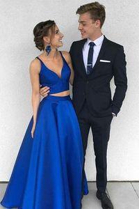 Сексуальный королевский синий из двух частей длинные платья выпускного вечера дешевые простой атласный синий вечернее платье партии куртка с юбкой