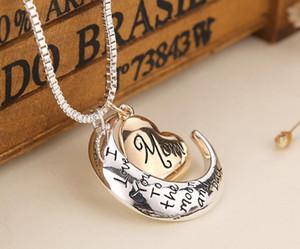 HEIßER Herz Schmuck Ich liebe dich bis zum Mond und zurück Mom Anhänger Halskette Mutter Tag Geschenk Großhandel Modeschmuck Freies Schiff