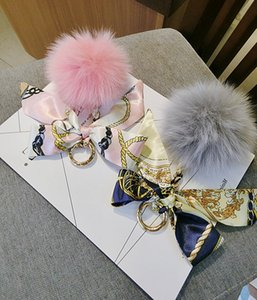 2018 Hot SaleKorean Version Simulation Fashion Fox Fur Ball Silk Ribbon Bow Bag Pendant Car Pendant