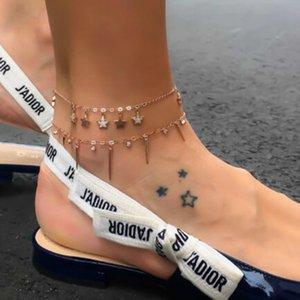 2018 Neue Frauen Knöchel Armband Doppelstern Anhänger Strand Fußkettchen Für Frauen Schmuck Böhmischen Fuß Kette Anzug Geschenk
