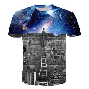 Wholesale Free Shipping galaxy clouds 3d print unisex pullover o neck casual hip hop clothes tshirt tee shirt