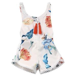 Crianças Dos Miúdos Do Bebê Meninas Conjuntos de Roupas de Uma Peça Pendurado Borlas Knicker Floral Camisa Branca Outfit Playsuit Infantil Roupas 0-4 T