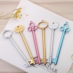 Creative-Schlüssel-Form 0,5 mm Gelschreiber Black Ink Kawaii-Schule-Briefpapier Kindergeschenke Goldene Sliver Blau WJ012