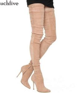 2018 Runway Stil Winter Aprikose schwarz Overknee Stiefel elastische High Heels Oberschenkel hohe Stiefel für Frauen botas mujer