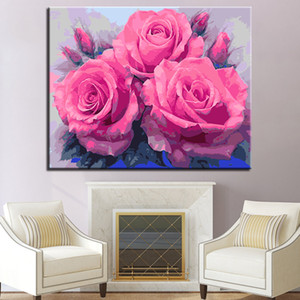 Pink Rose Flower Painting By Numbers Hand Painted Acrylic Oil Drawing On Canvas For Adults Home Decor