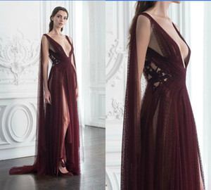 Paolo Sebastian Burgundy Prom Dresses Deep V Neck Illusion High Side Split Sexy Formal Dress Party A Line Plus Size Evening Gowns