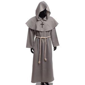 Costume da Frate medievale Vintage Renaissance Priest Monk Cowl Robes Abiti Cosplay con croce Collana per uomo adulto Regali