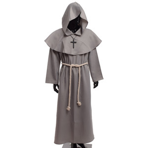 Adult Friar Men Priest Outfits Vintage Monk Cowl Medieval Cosplay Necklace Renaissance Cross Robes For With Costume Gifts Cpqnb